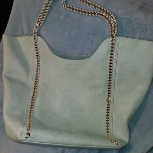 Gold Chain Vegan Teal Leather Tote Street Level